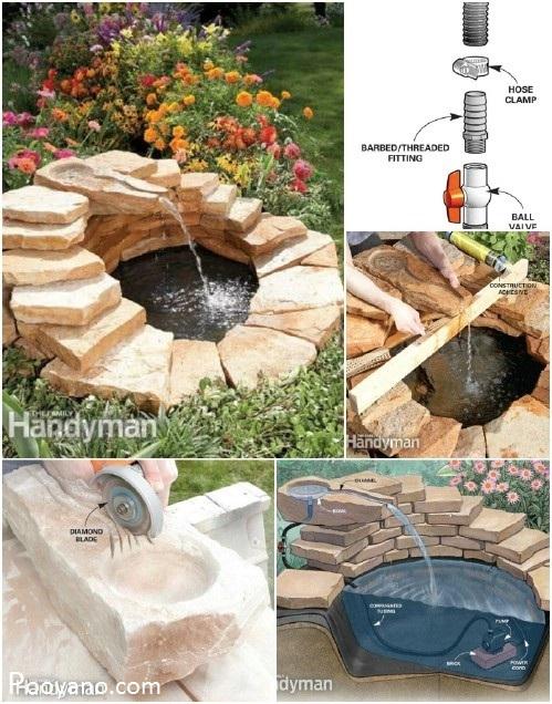ساخت آبنما در منزل،آموزش ساخت آبنما در حیاط،آبنما سیمانی،آب نما فواره دار