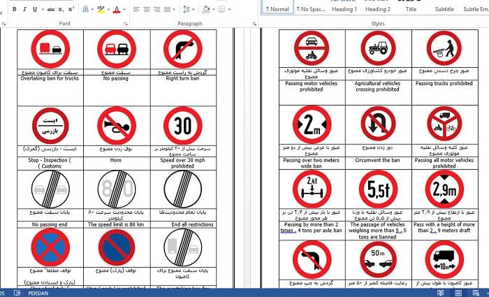 علائم راهنمایی و رانندگی به زبان انگلیسی